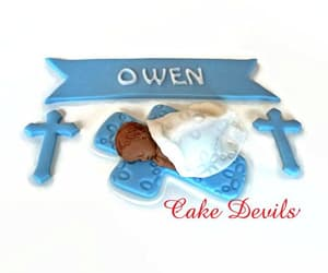 banner, party supplies, and christening cake image