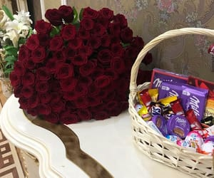 chocolate, flowers, and girls image