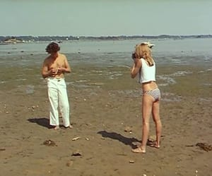 beach, couple, and vintage image