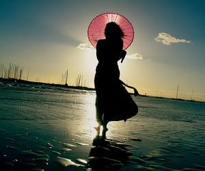 beach, girl, and sky image