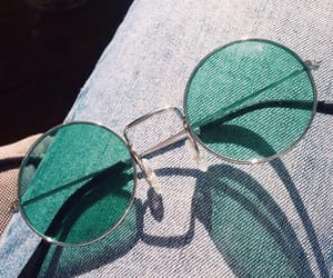 glasses, green, and sunglasses image