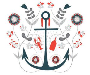 anchor, blue, and floral image