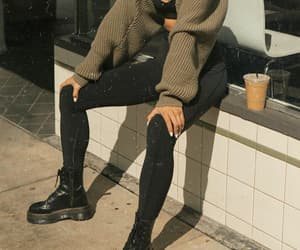 black, boots, and cardigan image