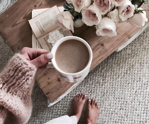 coffee, flowers, and cozy image