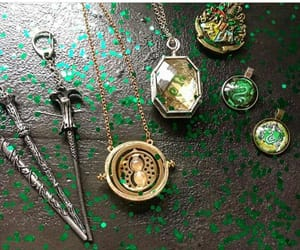 gold, green, and harry potter image