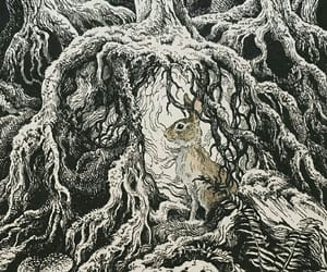 drawing, forest, and mushroom image