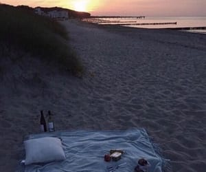 beach, sunset, and picnic image