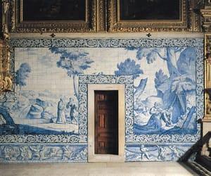art, blue, and interior image