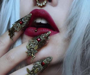 nails, piercing, and witch image