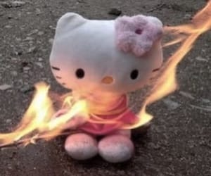 aesthetic, fire, and hello kitty image