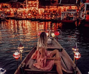 beautiful, boat, and lights image