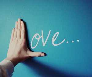 love, hand, and blue image