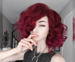 hair, style, and red image