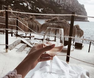 beach, wine, and drink image