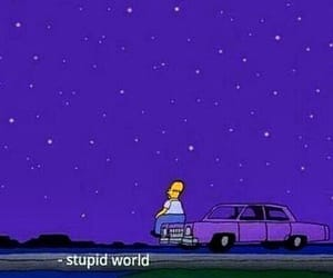 stupid world, purple, and sad image