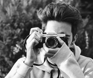 black and white and boy image