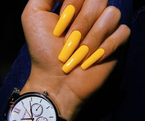 nails, real, and yellow image