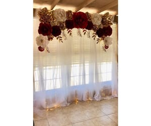 backdrop, bride, and paper roses image