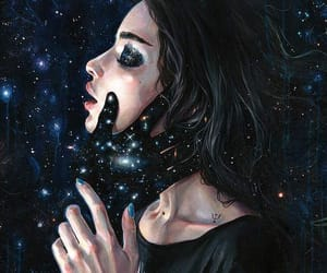 art, girl, and space image