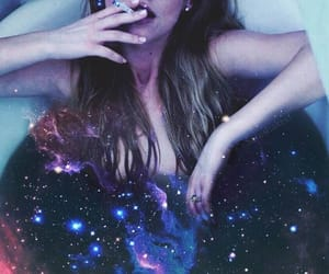girl, galaxy, and purple image