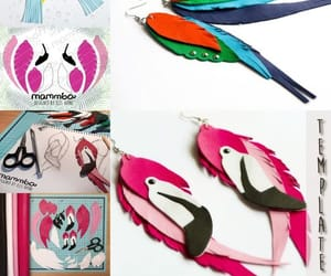 birds, flamingo art, and feathers image