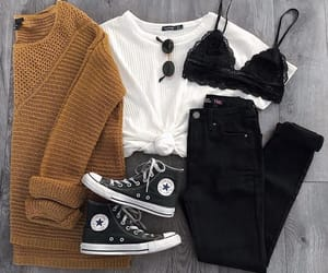 converse, outfit, and black jeans image