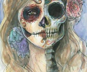 girl, skull, and beautiful image