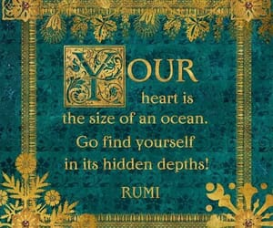 heart, ocean, and Rumi image