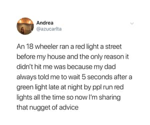 green light, advice from dad, and red light runner image