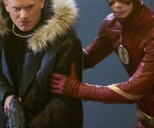flash, wentworth miller, and grant gustin image