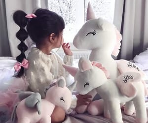 girl, adorable, and unicorn image