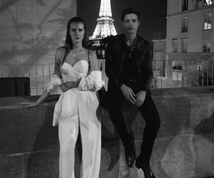 black and white, paris, and romance image