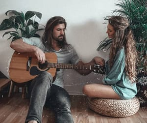 acoustic guitar, beauty, and couple image