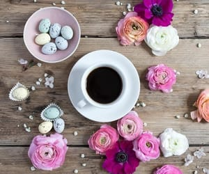 coffee, easter eggs, and flowers image