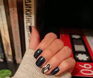 blue, blue nails, and guitar image