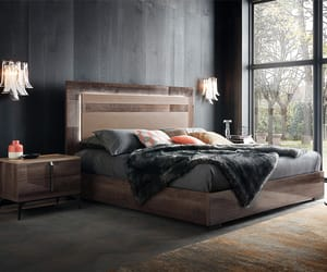 bed, contemporary bed, and wooden bed image