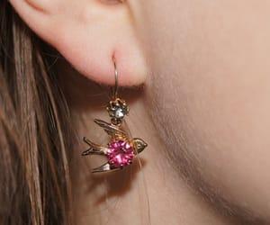 etsy, bird earrings, and pink rhinestones image