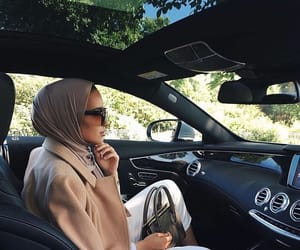 car, hijab, and fashion image