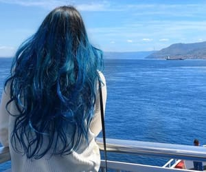 bluehair, coloredhair, and blueombre image