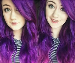 color hair, waves, and purple hair image