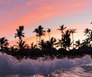 beach, waves, and sunset image