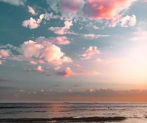 ocean, sky, and sunset image