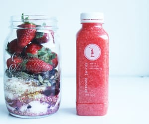 drinks, strawberries, and healthy image