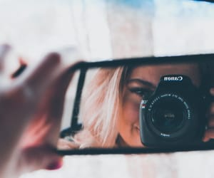 blonde, camera, and girl image