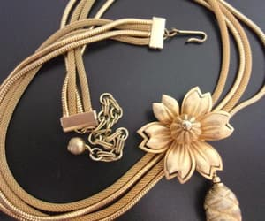 etsy, floral necklace, and gold tone necklace image