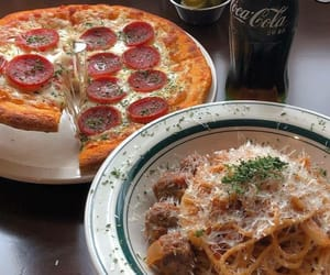 coca cola, eat, and pizza image