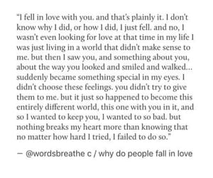 falling in love, heartbroken, and quote image