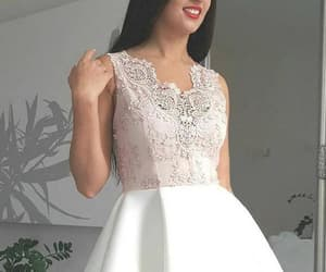 homecoming dress, pink prom dresses, and v-neck homecoming dresses image
