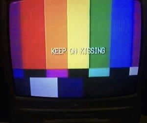 rainbow, tv, and kiss image