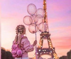 girl, balloons, and paris image